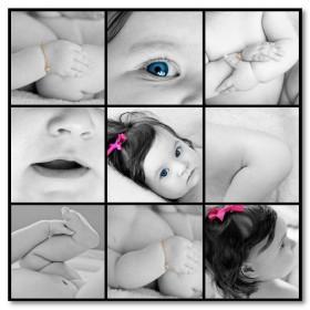 Αφίσα (μαύρο, λευκό, άσπρο, μωρό, κορίτσι, χαριτωμένος)